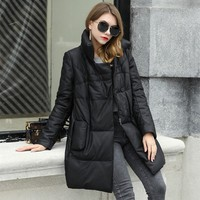Genuine Leather Down Coat Winter Women Fashion Bread collar Sheepskin Coat Loose Thickened Long Warm Jackets