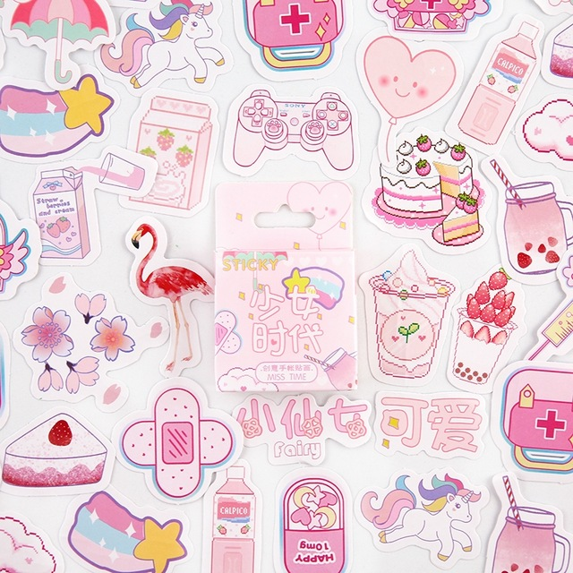 46pcs/lot Girlhood Pink Mini Decorative Kawaii Cute Stickers Scrapbooking Flakes Journal Stationary Deco