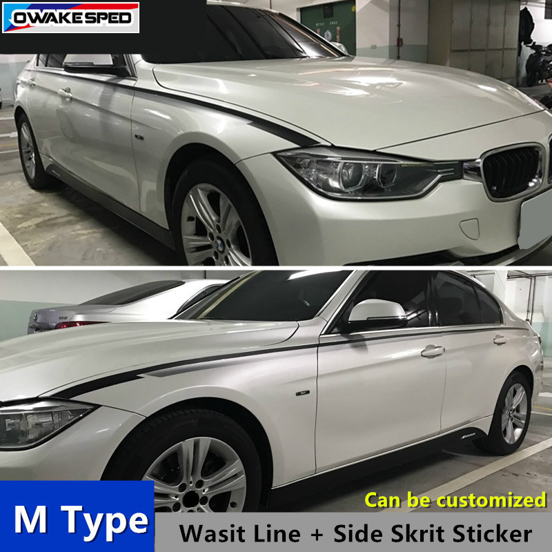 For M Sport Car Side Skirt Sticker Customized Car Body Waistline Decals Performance Styling For BMW 1/3 series F30 F20