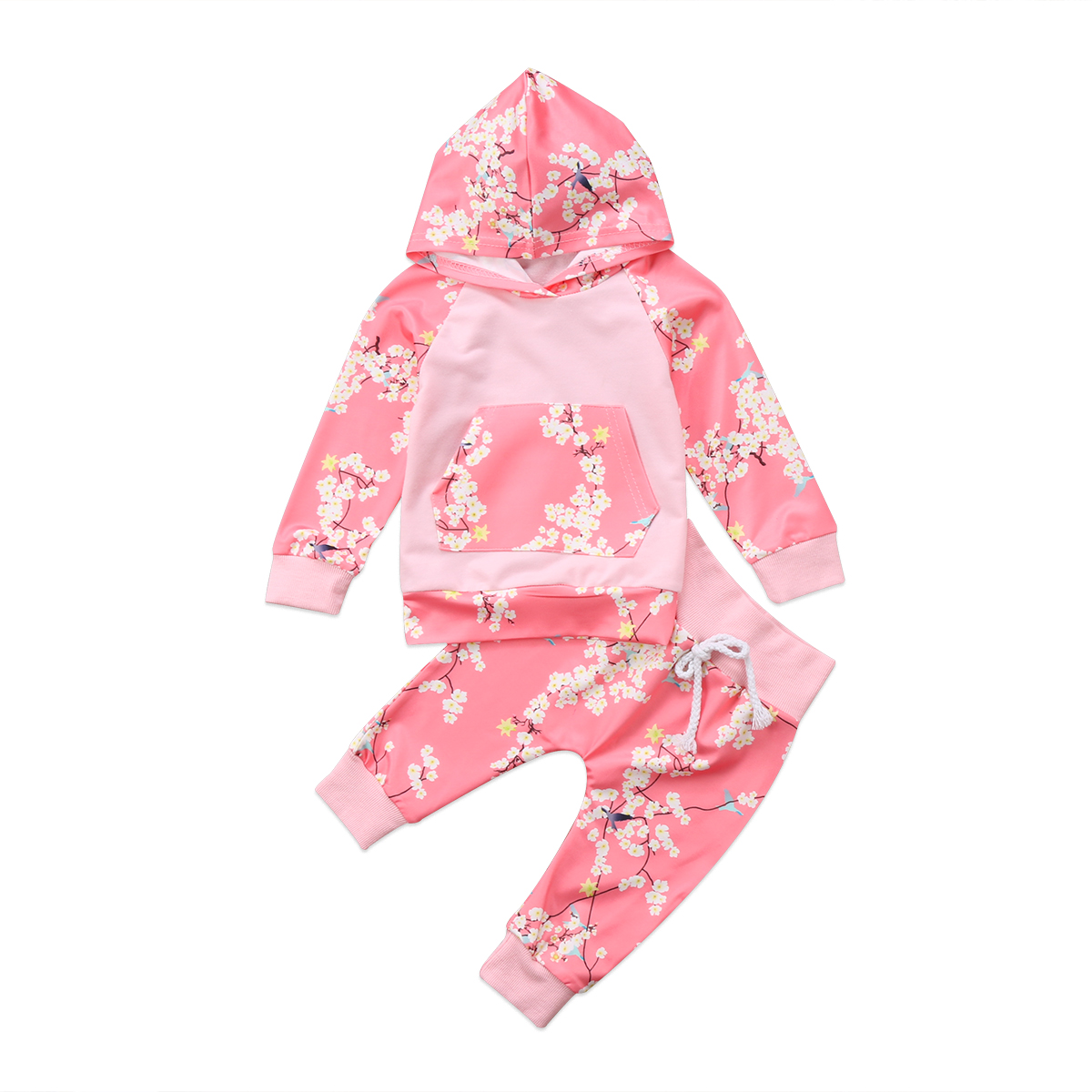 Lovely Spring Baby Girls Clothes set Toddler Newborn BabyFloral Hooded T-Shirt Pants Cotton Outfits baby girl floral clothes
