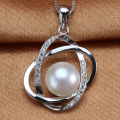 High Quality 100% Real Natural Freshwater Pearl Women Pendant Fashion AAA Zirconia White Gold Plated Jewelry 2017 New