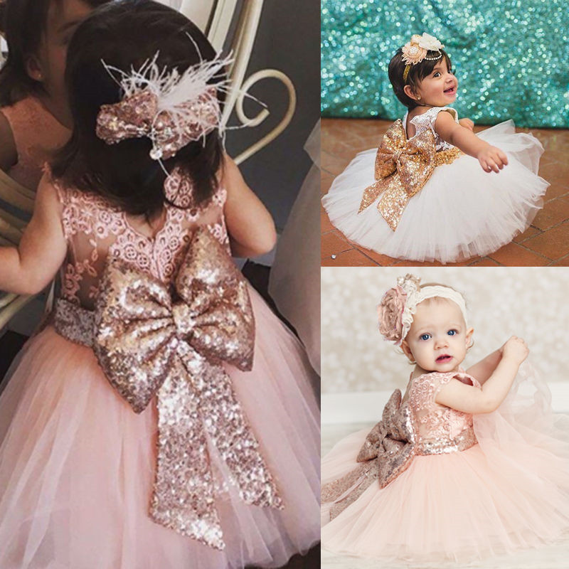 New Fashion Party Birthday wedding princess Toddler baby   Girls   Clothes Sequin   Flower     Girl     Dress   Children Kids   Girl     Dresses   0-10T