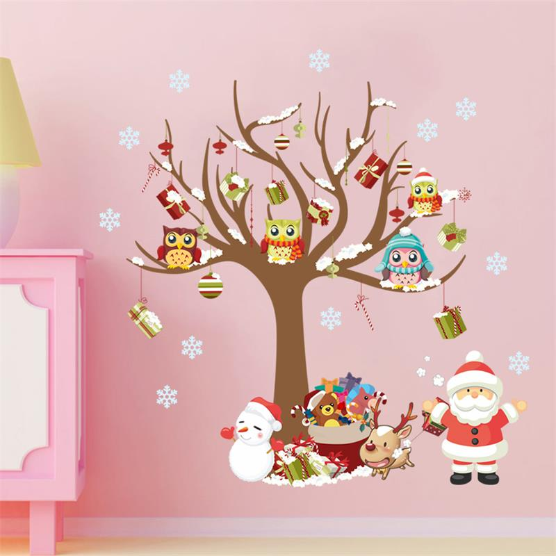 Christmas Decoration Wall Stickers Owls On The Tree Santa Claus Snowflake Gift Pvc Interior Xmas Wall Glass Decals For Kids Room