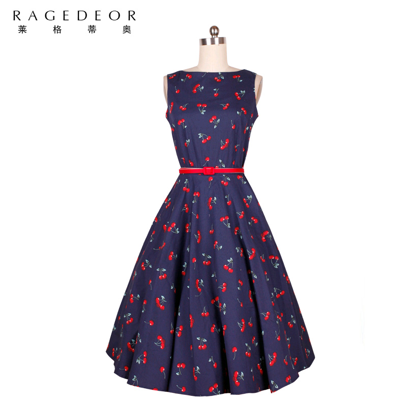 Estilo retro dress women dress 2017 verano elegante swing party dress cereza tra