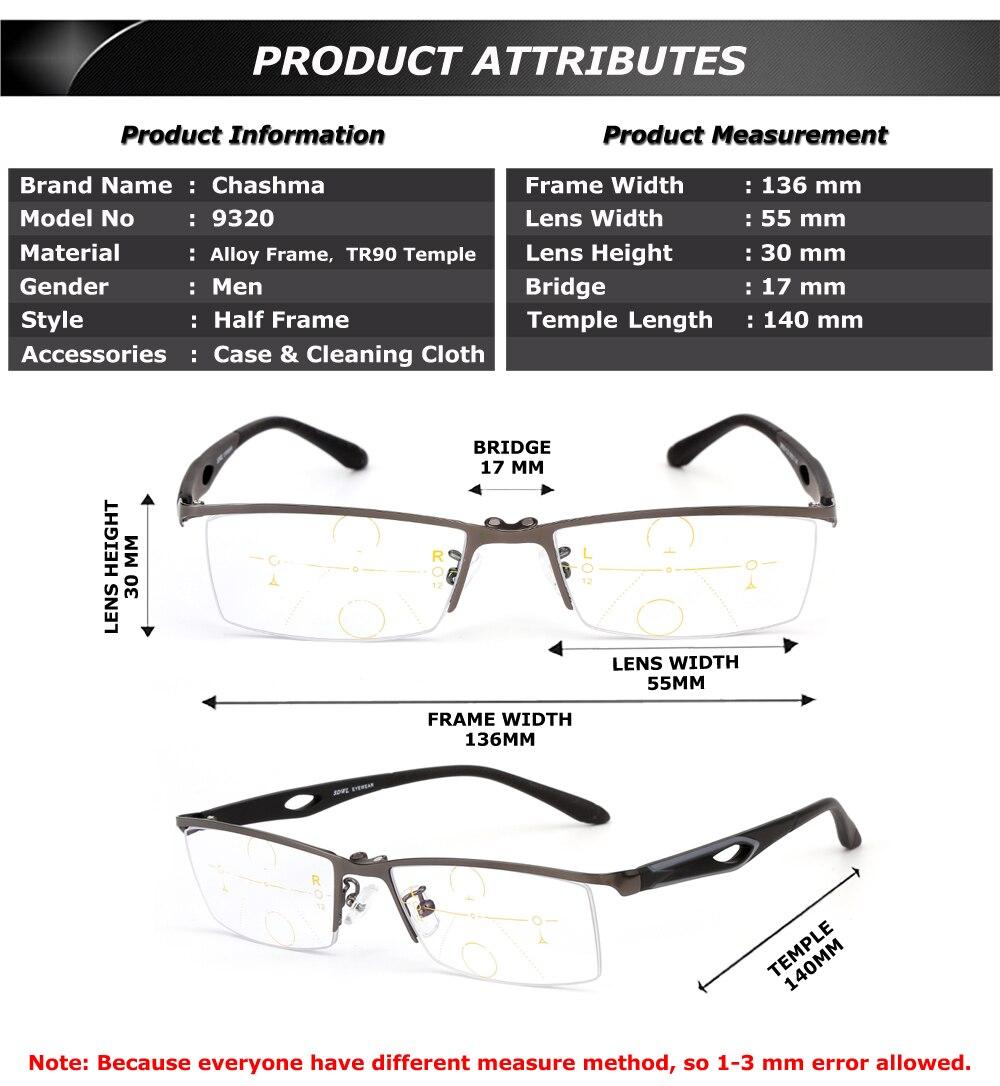 cf5e8f6f66 Gafas verifocales de marca Chashma para hombre gafas ópticas de media  montura lentes progresivos gafas de lectura con Clips magnéticos. Uqs para  lentes de ...