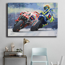 Marc Marquez and Valentino Rossies Poster Motorcycle Road Racer Painting Prints Artwork Wall Pictures for Living Room Home Decor(China)