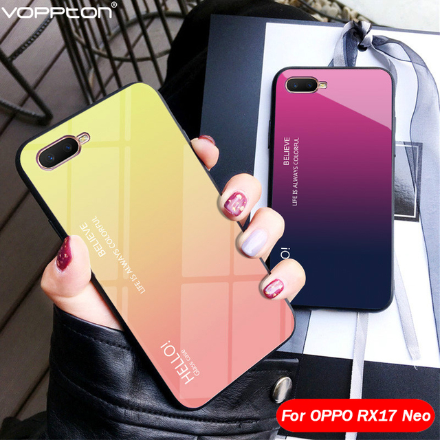 Gradient Tempered Glass Case For OPPO RX17 Neo Case Silicone TPU Frame Hard Glass Back Cover For OPPO RX 17 Neo Shockproof funda