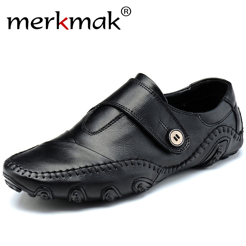 Handmade Genuine   Leather   Men's Flats Casual Brand Men Loafers Comfortable Soft Driving Shoes Slip On   Leather   Moccasins