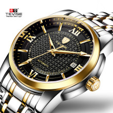 Luxury Brand TEVISE Business Men Watch Calendar Automatic Mechanical Watch Steel Waterproof Luminous Casual Male Wrist Watches ik colouring gold steel strip calendar automatic mechanical watch vintage mens watch male casual watch