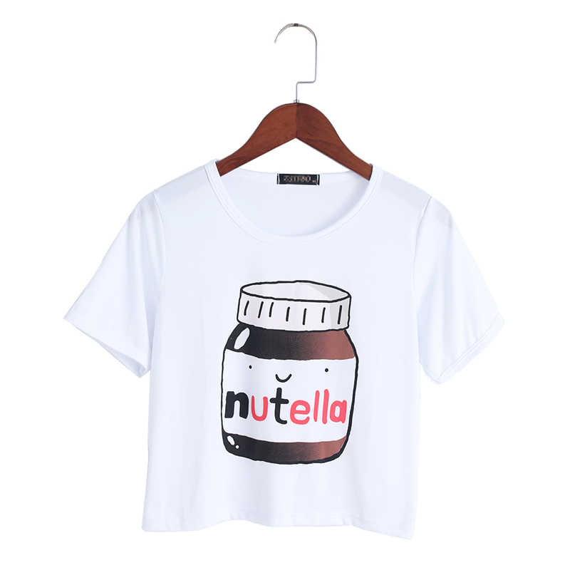 Harajuku 2017 Summer T-shirt Nutella Print White Crop Tops Short Sleeve T shirts Fitness Women Fashion Kawaii T-shirt
