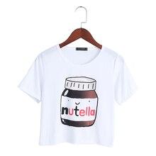 Harajuku 2017 Summer T-shirt Nutella Print White Crop Tops S