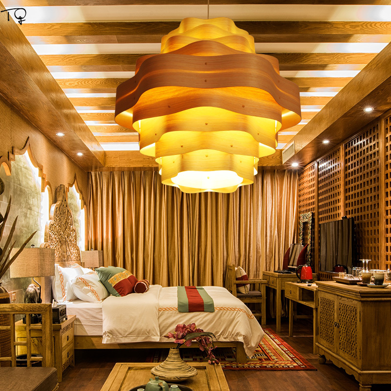 Southeast Asia Pendant Lights LED Handwork Art Wooden Skin Dining Living Room Bedroom Teahouse Modern Personality Creative Hotel in Pendant Lights from Lights Lighting