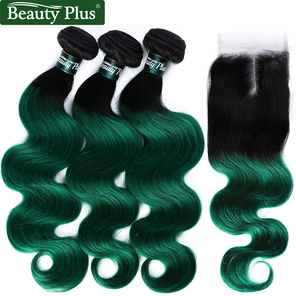 BP Ombre Hair Bundles With Closure Pre Colored Green Body Wave Hair Bundles With Closure 3Pcs Non Remy Human Hair With Closure