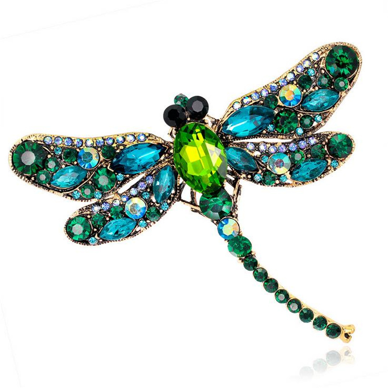 DoreenBeads 7.5x9.1cm Delicate Dragonfly Brooch Fashion Insect Safety Pin for Girl Women Sweater Coat Shirt Collar Scarf Hat Bag