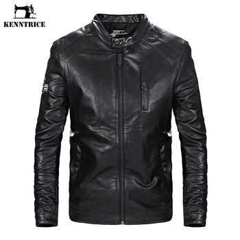 KENNTRICE Brand Autumn Men's Leather Jacket Motorcycle Men's Military Jacket PU Bomber Jacket Pilot Leather jackets