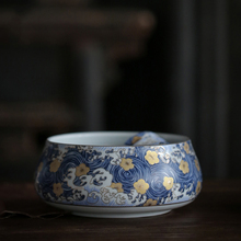PINNY STARRY NIGHT Color Enamel Tea Wash Bowls 1000ml Chinese Kung Fu Set Ceremony Accessories Water Container