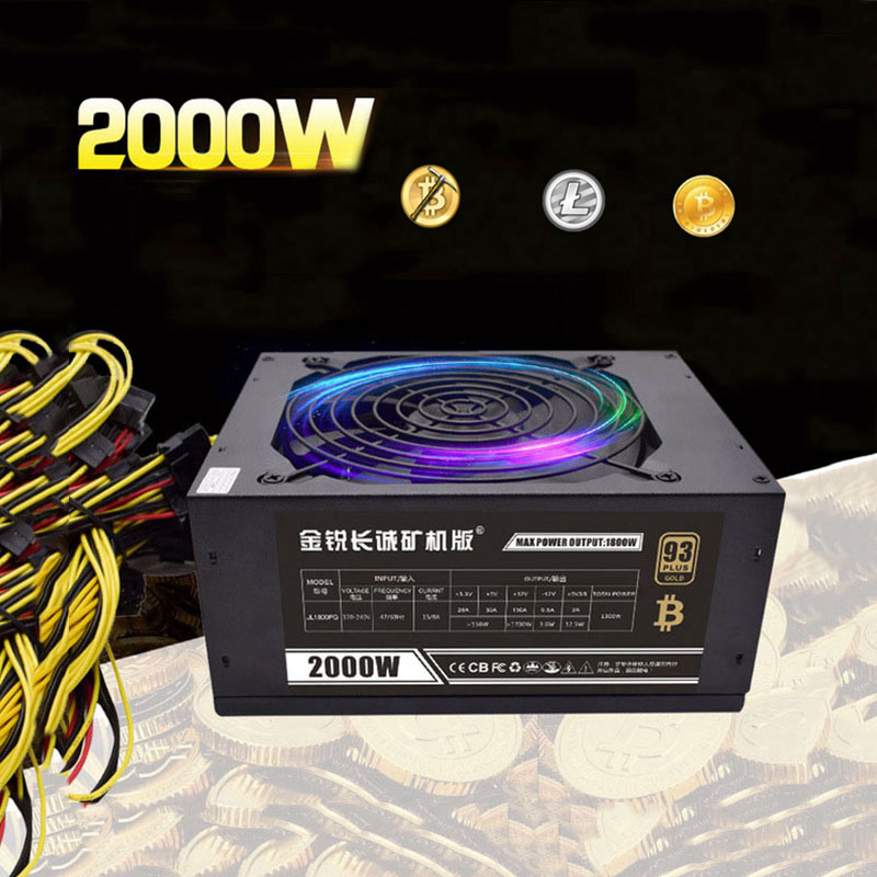 Bitcoin dash miner Server power supply 2000w ethereum asic RX 470/480 RX570 1060 1080 8 GPU card for antminer S7 S9 B3 C9 D3 E9