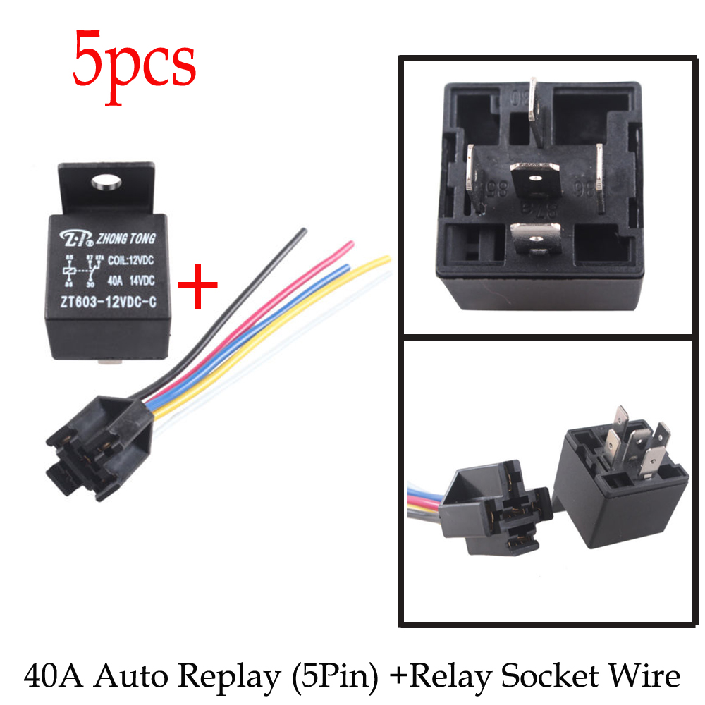 5pcs Car Truck Auto Relay 12v 40a 40 Amp Spdt Relays 5 Pin 5p Connector Socket Wire In Switches From Automobiles Motorcycles On