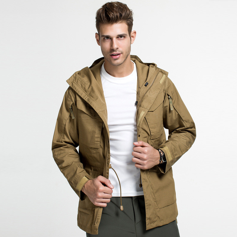 Winter Windproof Thermal Hooded M65 Tactical Windbreaker Tops Men Outdoor Climbing Hunting Army Fans Clothing Pilot