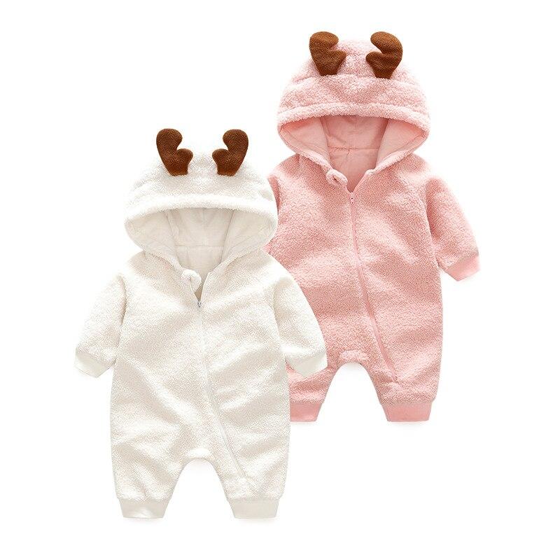 Одежда для малышей Зимние теплые детские Комбинезоны для малышек пижамы для новорожденных из овечьей шерсти флис с длинным рукавом комбине...