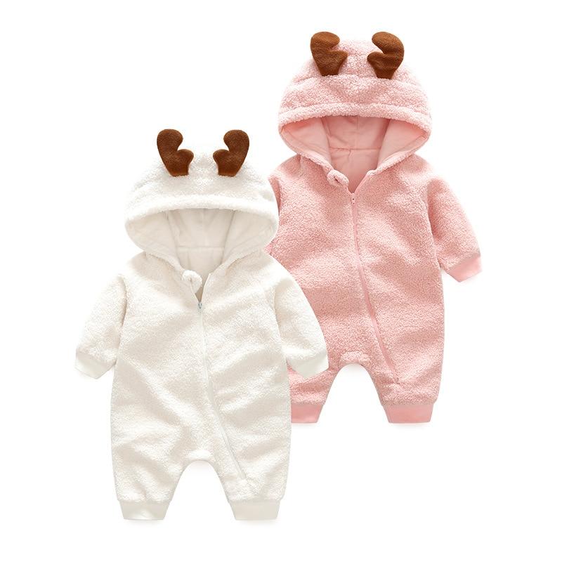 Baby Clothes Winter Warm Baby Rompers Pajamas Newborn lambswool Fleece Long Sleeve Jumpsuit Christmas Deer Hooded Outwear Ins