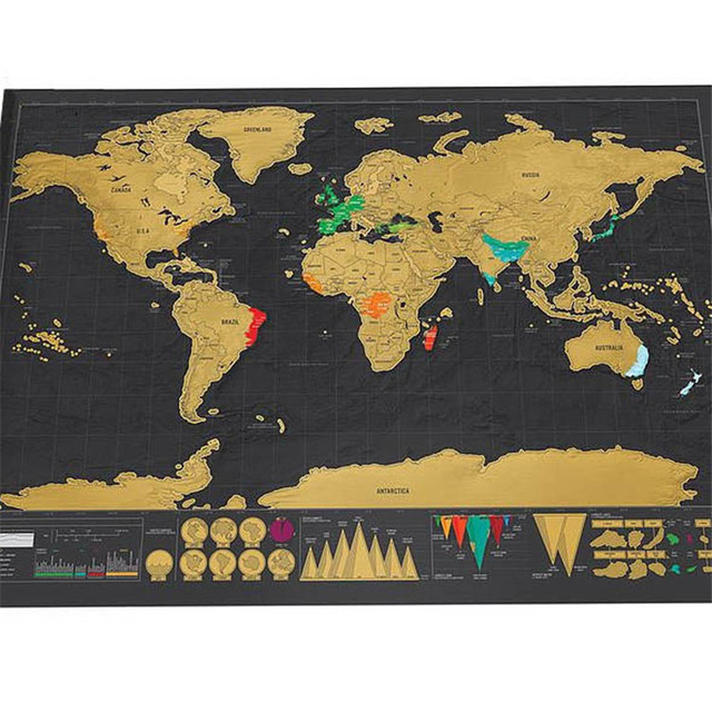 1Piece Brand New Deluxe Scratch Map Black Mapa Creative Scratch Off Map Travel Scratch World Map Mapa Mundi Rascar 82.5 X 59.5cm