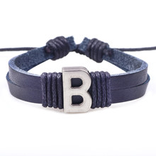 2019 26 Letters leather Bracelets for Women Men Fashion Jewelry Name Friendship Lucky Bracelet Kids Family Gift armband heren(China)