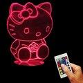 Бесплатная Доставка 1 Шт. Hello Kitty 3D Bulbing Свет Настроения Ночника Пульт Дистанционного Управления USB Стол Свет для Kitty Болельщиков