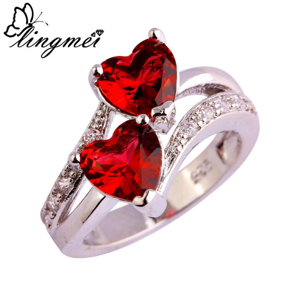 Lingmei Weddig Braut Exquisite Doppel Herz Rot & Weiß Zirkon Silber 925 Ring Größe 6 7 8 9 10 11 12 13 schmuck Für Frauen Hot