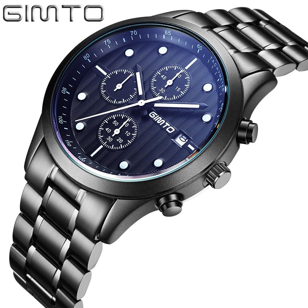 2016 GIMTO Top Brand Stainless Steel Mens Sports Watches Fashion Boys Waterproof Analog Quartz Wristwatches Relogio