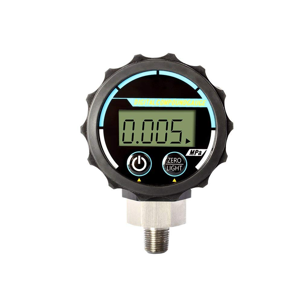 цена на Elitech Professional Digital Pressure Gauge Differential Pressure Manometer Manifold Pressure Tester, 5MPA, 50mm Dial Plate,1/8