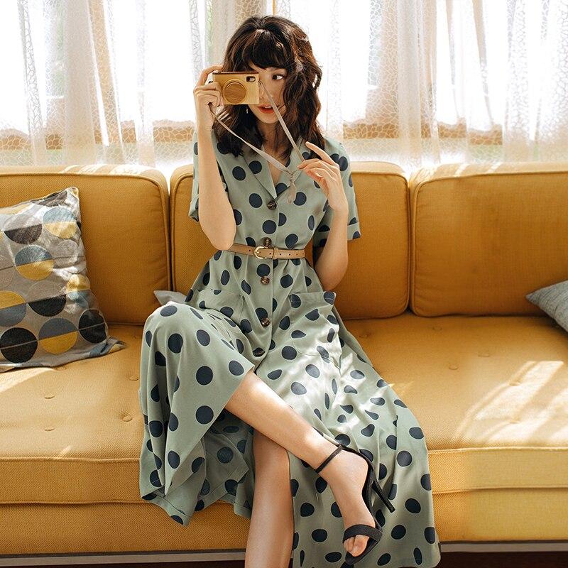 2019 VERRAGEE femmes été nouveau Long imprimé Dot robe Vintage Maxi robe - 4