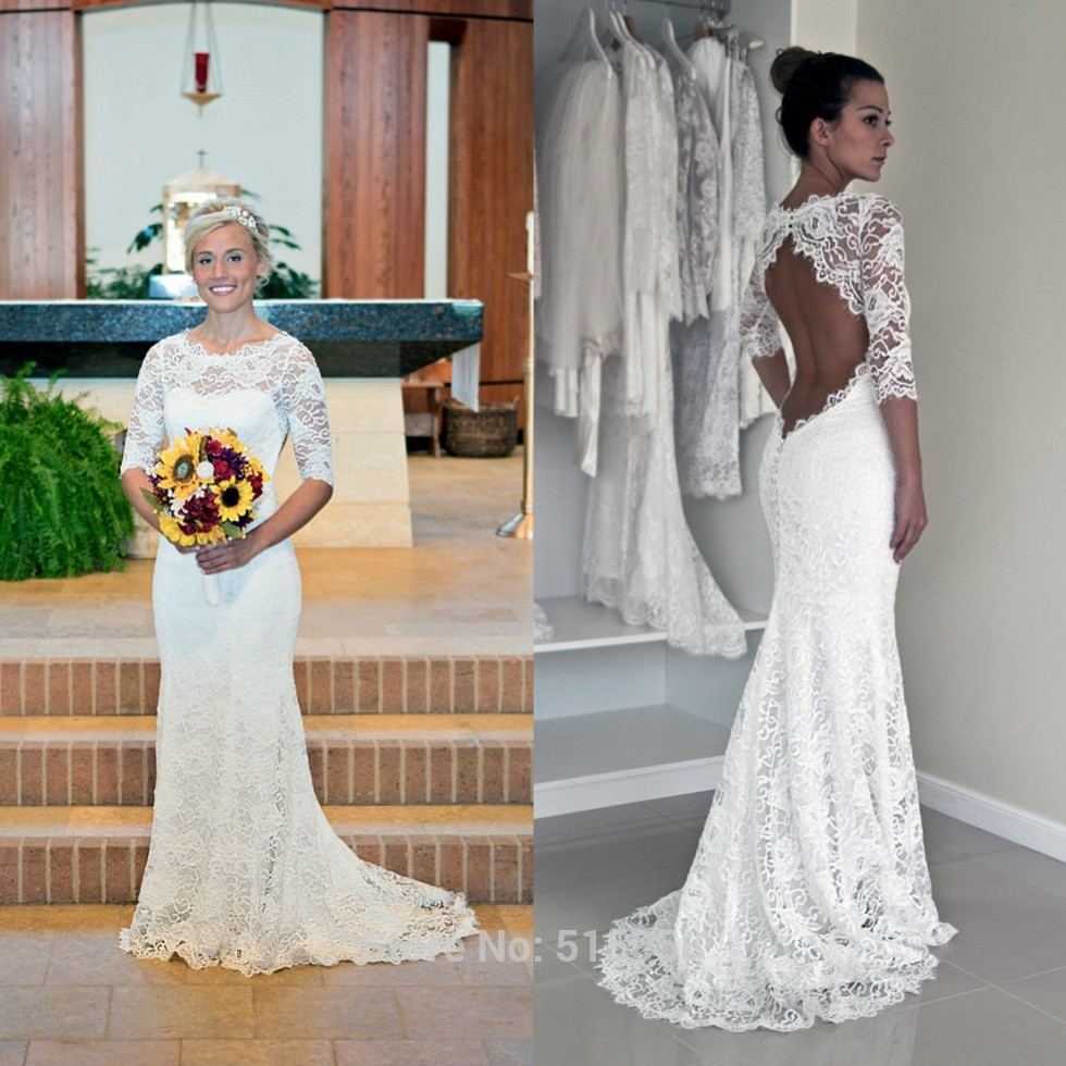 Y Open Back Lace 3 4 Sleeves Mermaid Wedding Dresses Boho Bridal Gowns 2017 Custom Made Bohemian Dress Robe De Mariee Boheme In From