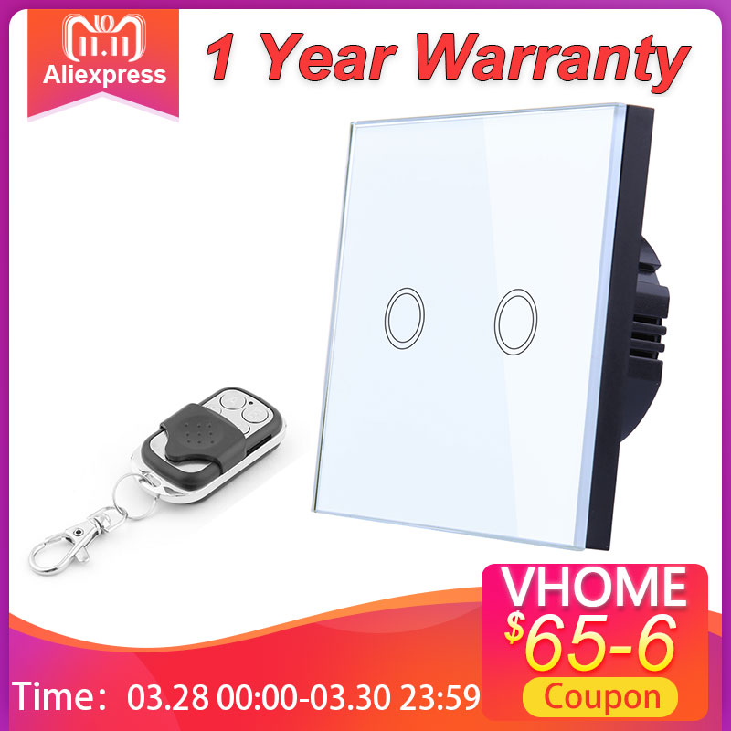 EU Standard VHOME Smart Touch Switch 2 Gang 1 Way White Crystal Glass Switch Panel Sensor