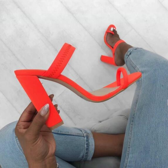 orange yellow fashion high heels women sandals cheap on sale