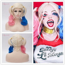 Mishair Harley Quinn Cosplay Wig Blue and Pink Color Synthetic Joker Girl Hair Wig Harley Queen Cosplay Costumes Wig Women