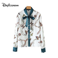 2019 women chic chains butterfly print blouse long sleeve bow tie collar female casual shirt office wear tops blusas