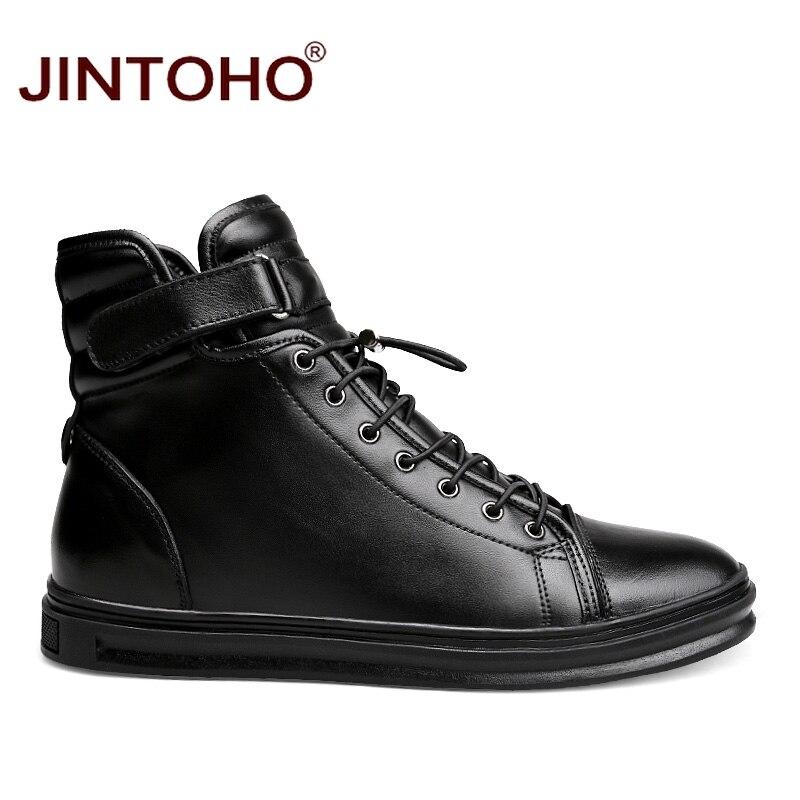 JINTOHO wysokiej jakości zimowe oryginalne skórzane buty męskie marki buty męskie zimowe czarne prawdziwa skóry męskie buty kalosze w Podstawowe buty od Buty na  Grupa 3