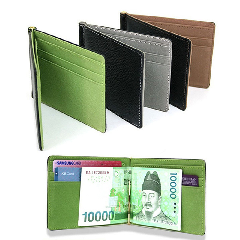 Slim Men's Leather Money Clips Wallets Women Casual Purse With Metal Clamp Small Bag For Man Credit Card Slots Cash Holder
