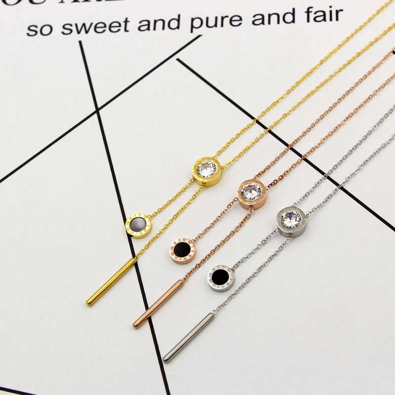 New Roman numerals single crystal hanging black round cake round short necklace female fashion jewelry clavicle necklace