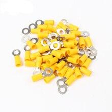 Для выведения токсинов, 40 шт RV5.5-4 RV5.5-5 RV5.5-6 желтый кольцо изолированный терминал кабель обжимная Клемма костюм 4-6mm2 кабель разъем провода