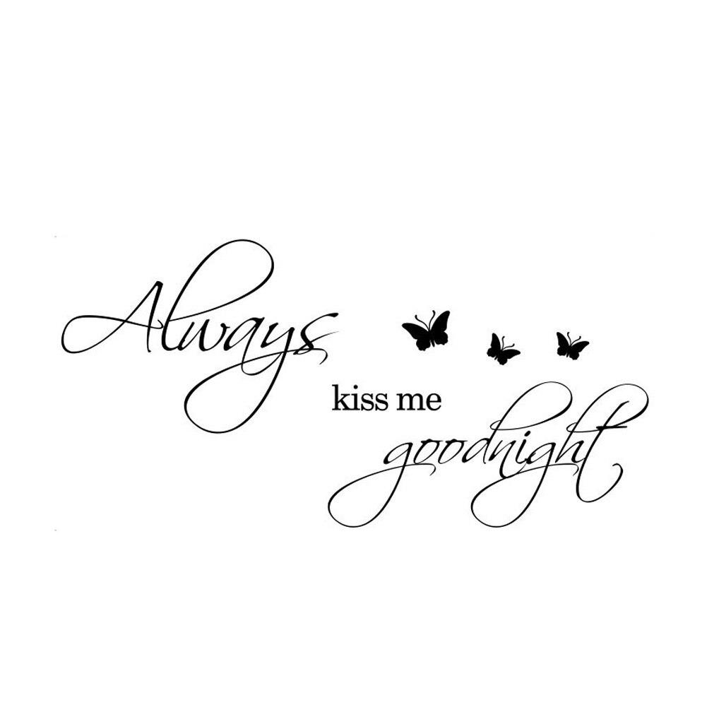 Renkli oturma gruplari 5 quotes - Always Kiss Me Goodnight Love Wall Decals Quote Butterfly Living Room Bedroom Wall Stickers Kids Room