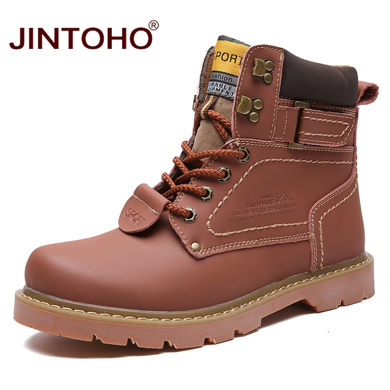 JINTOHO Winter Men Boots High Quality Male Genuine Leather Boots Work Safety Boots Fashion Winter Genuine