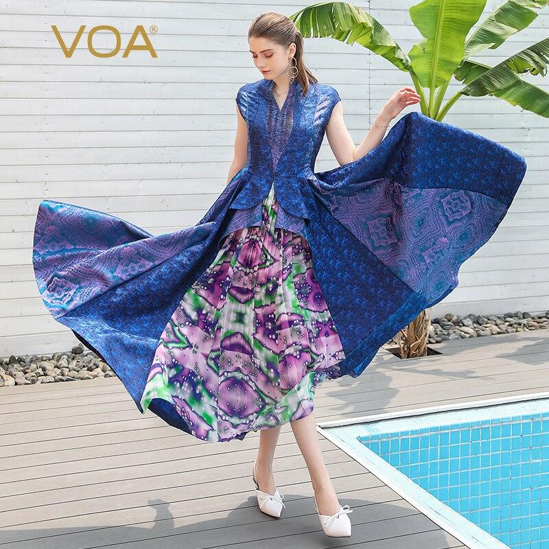 VOA Silk Jacquard Runway Pleated Dresses Women Party Long Dress Elegant Vintage Slim Tunic Clothes Retro Vogue Fall Rococo A677