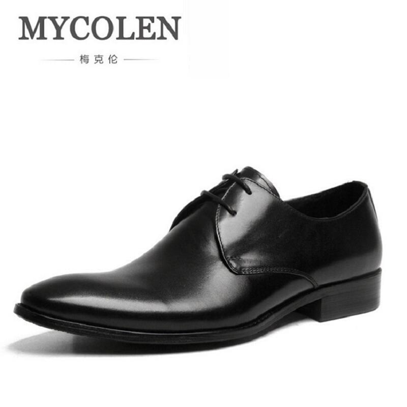 MYCOLEN Mens Shoes Luxury Brand Designer Genuine Leather Lace Up Black Formal Dress Wedding Oxfords Derby Shoes Zapatos Hombre good quality men genuine leather shoes lace up men s oxfords flats wedding black brown formal shoes