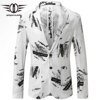 Plyesxale Mens Linen Blazer Jacket Slim Fit Summer Blazer For Men 2019 High Quality Casual Blazers Printed Terno Masculino Q438 - DISCOUNT ITEM  39% OFF All Category