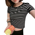 New 2016 Women Tops Summer Ladies T shirt Sexy Crop Tops Striped Short Sleeved T-shirt Slim Short Female Clothes Slim Kpop Top