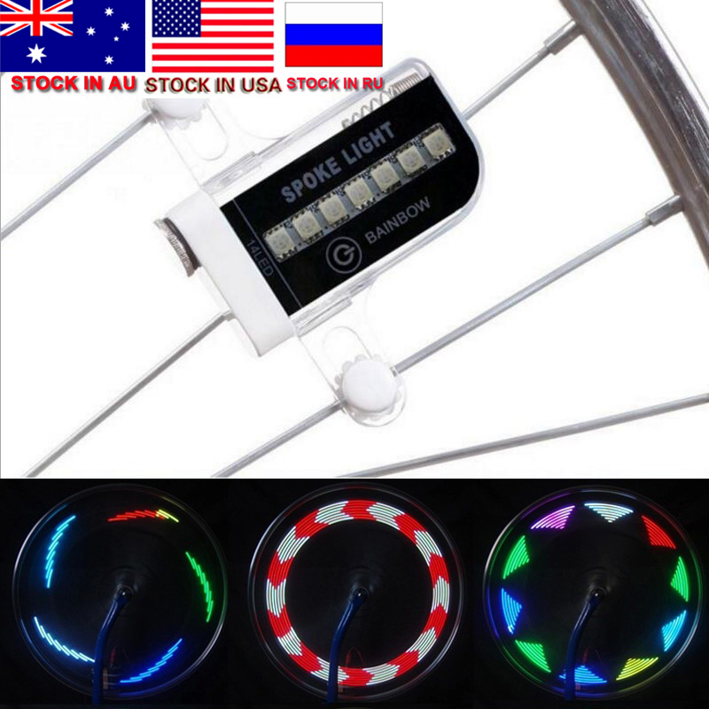 ZK30 Dropshipping Sale Colorful 14 LED Bike Cycling Bicycle Bike Wheel Signal Tire Spoke Light 30 Changes Cycling Accessories