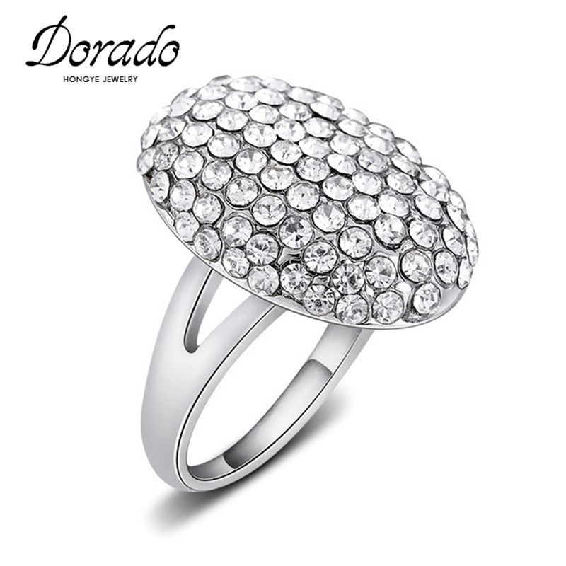 Rhinestones Big Rings For Women Silver Color Alloy Engagement Wedding Party Female Finger Ring Fashion Jewelry
