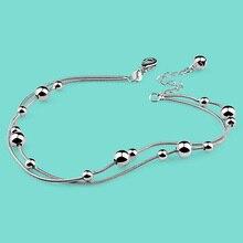 Señora 925 cadenas de plata esterlina, simple diseño de la cadena del grano Redondo de Verano mujer joyería de plata, No Es alérgico a la plata cadenas de regalos
